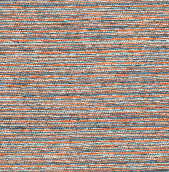 Orange and Blue Tweed Upholstery Fabric Woven Blue Textured