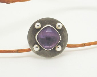 Checker board faceted Purple Amethyst sterling silver ring choose your size