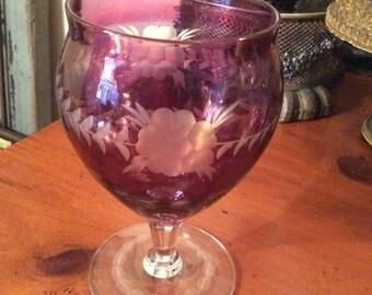 Etched goblet or vase eggplant purple