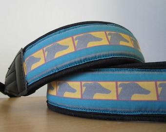Greyhound Camera Strap - Adjustable - DSLR - Blue - Whippet Galgo Italian Greyhound Camera Strap