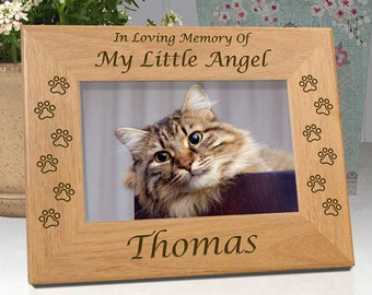 Personalized Cat Sympathy Frame - In Loving Memory Of My Little Angel ..or.. In Loving Memory Of Our Little Angel