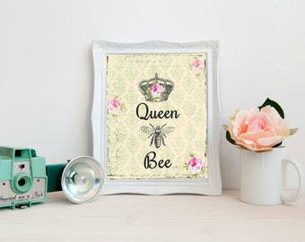 Queen Bee Digital Image Instant Download Home Decor Cottage Chic