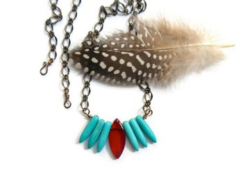 boho beaded necklace // red and turquoise spike pendant