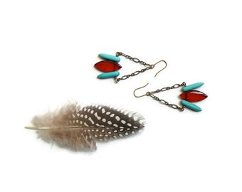 bold beaded boho earrings // red and turquoise jewelry