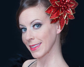 Rockabilly Burlesque Christmas Red & Gold Glitter Poinsettia Pinup Girl Flower Hair Clip Accessories