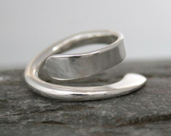 Swoop silver unusual thumb ring sterling chunky crossover ring, for men and women, custom handmade by Fiona Lewis in my UK studio