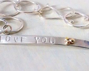 Proposal bracelet sterling silver, bar with gold droplets and personalised, Fiona Lewis custom handmade in UK