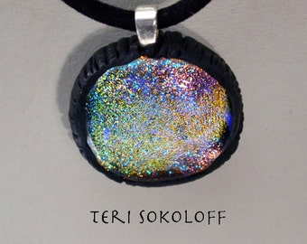 Dichroic Necklace, Fused Glass Necklace, Intense Multiple Sparkling Pastel Colors