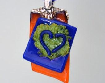 Fused Glass Heart Pendant, Glass Heart Pendant, PMC Silver Bail, OOAK