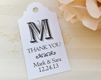 Classic Monogram - Wedding Favor Thank You Tags - Personalized - Bridal Shower - Baby Shower - Custom Tags WT-006
