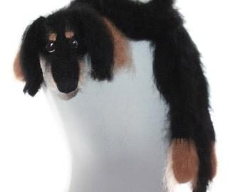 Knitted Scarf dog dachshund / Fuzzy Soft Scarf / black biege  / Dog scarf / Pet portrait / knited dog scarf / animal scarf / Dog Breed Scarf