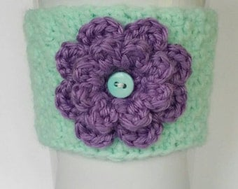 Crocheted Spring Flower Coffee Cup Cozy Mint and Purple