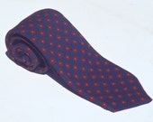 Vintage 1980s Navy Skinny Tie with Red Neats by Bert Pulitzer