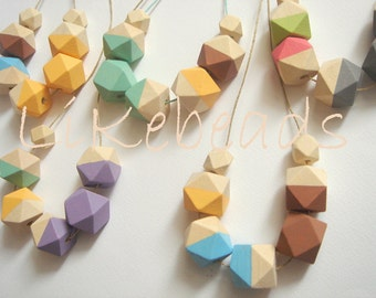 Wholesale Geometric Necklaces, 25 Handmade Pastel Geometric Wood Necklaces,  Geometric Jewelry