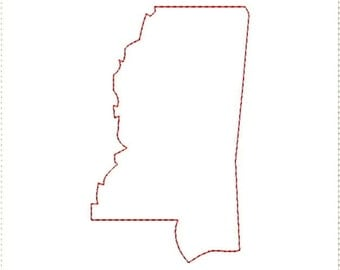 Mississippi MS Outline and Heart US United States Embroidery Machine Design 4x4 5x7 Bernina Brother Pfaff Husqvarna Elna and More