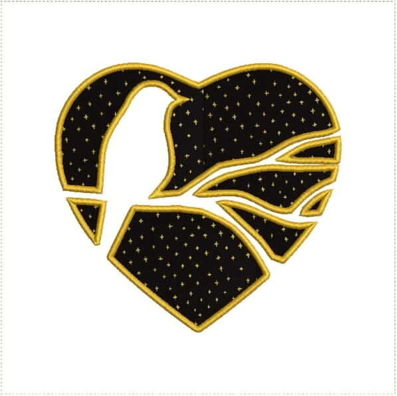 Bird In a Heart Outline Reverse Applique Machine Embroidery Design ...