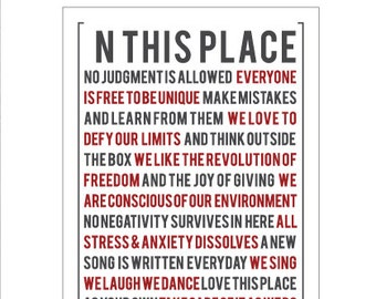 Poster In This Place No Judgment Is Allowed Manifesto by [LOVE TO BE]. Positive Quote + Messages. Inspirational Wall Art & Design
