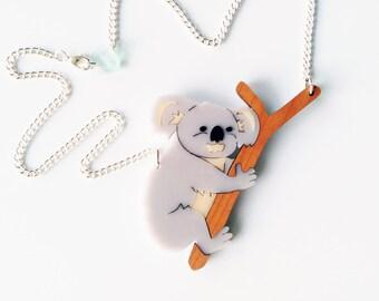Koala Necklace. Animal Necklace. Statement Necklace. Australia Pendant Necklace. Acrylic and Wood Necklace. Eco Friendly Necklace.