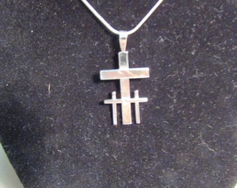 Sterling Silver Triple Cross Pendant and Chain