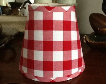 Red Gingham Lamp Shade: Red and white large gingham clip fitter lampshade,Lighting