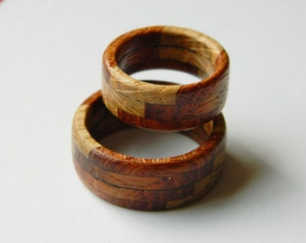 Layered Hardwood Ring - All natural, Handcrafted, Made in the USA, Free Shipping, Men's rings, Women's rings