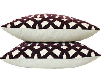 Two Velvet Imperial Trellis Pillow Covers in Eggplant- Schumacher Pillow