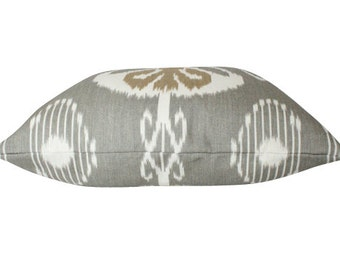 Bansuri Ikat Grey and Tan Designer Decorative Pillow Cover on Both Sides