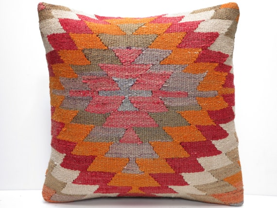 "FREE Shipping / Home Decor,Handwoven Turkish Area Rug Kilim Pillow Cover 16"" X 16"",Decorative Rug Pillow,Rainbow Rug Pillow,Throw Pillow"