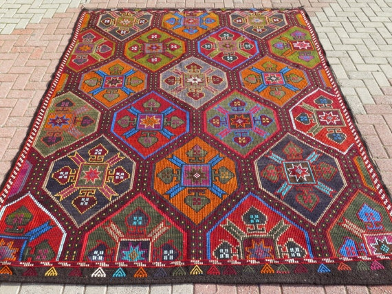 MODERN Bohemian Turkish Kilim Rug Carpet Handwoven Kelim RugAntique