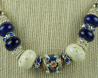 "NAVY BLUE ELEGANCE:  20""  European Style Large Hole Beads Ivory SIlver Necklace"