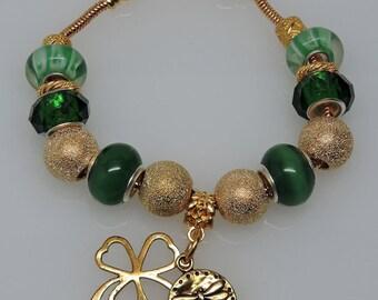 IRISH POT of GOLD 2:  European Style Large Hole Bead Green Gold Shamrock St. Patricks Day Bracelet