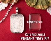 NEW 10 - Mini Rectangle Tray Kit DIY 21x32 - Blank Cabochon Bezel Settings - Trays, Glass, Chains