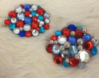 Patriotic Barrette, Red White & Blue Hair Clip, American Hair Clip