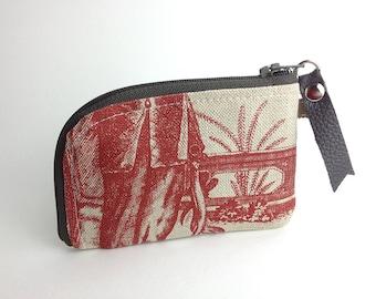 Red Toile Linen Personal Card Zipper Purse