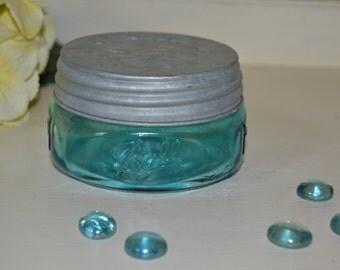 Blue BALL Mason Wide Mouth Squatty HALF PINT Fruit Jar & Galvanized Lid