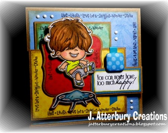 OOAK---Too Much Happy Card + Matching Envelope Box