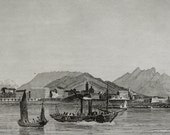 1838 Antique print of the city of AJACCIO, CORSICA, FRANCE. 178 years old print