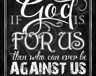 Scripture Art - Romans 8:31 Chalkboard Style