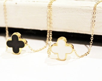 Modern Clover Necklace on Gold Chain - Black Clover
