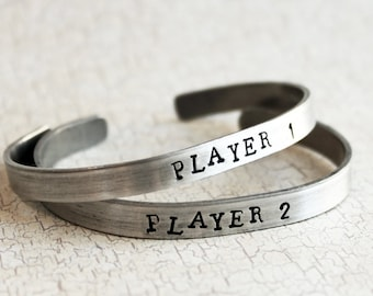 Player 1 and Player 2 Bracelets, Friendship Bracelets, Best Friend Jewelry for Gamer Girls who Video Game, Nerd Geek Bff Sister Jewellery