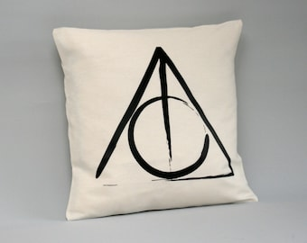 Harry Potter Cushion cover - Deathly Hallows Pillow cover - Harry Potter throw pillows - 16 x 16, 18 x 18, 20 x 20, 24 x 24, 26 x 26 -