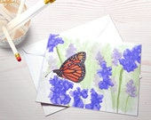 Monarch butterfly watercolor reprint blank greeting card eco friendly