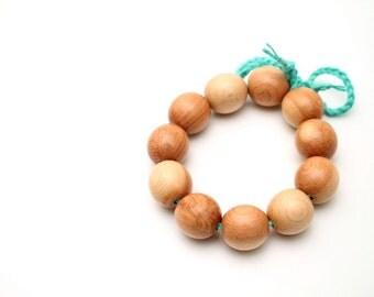 All natural juniper wood teething bracelet, Baby teething toy, Eco-friendly Round Teether