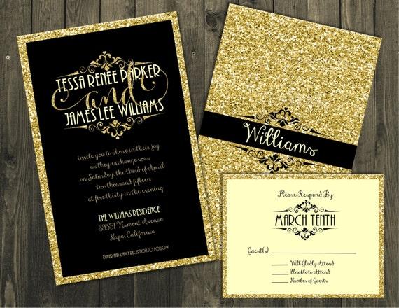 noir et or faire part invitations de mariage invitations de. Black Bedroom Furniture Sets. Home Design Ideas