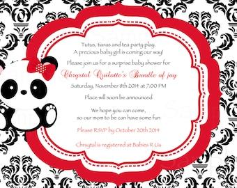 Red Damask  or Polka Dot Baby Panda Baby Shower Invitation & Tag Set- DIY Printable File