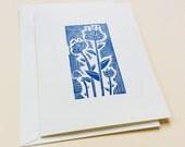 linocut card - FLOWERS / greeting card / blue block-print card / hand-printed, handmade card / flower art / blue & white