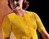 Vintage 1938 Window Pane Knit Sweater 295 PDF Digital Knit Pattern