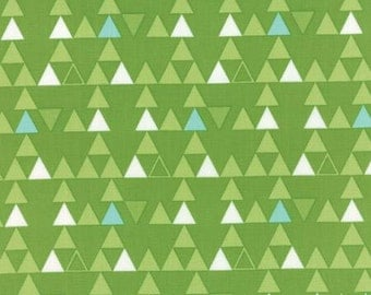 Color Theory Triangles Lime - Moda Fabrics 10832 13  Green Triangles White Teal