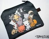 BLaCK Pile of Kitties Mini Zipper Purse Pouch - Coin Wallet - Cat Kitten - ReLove Plan.et