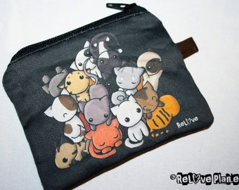 BLaCK Pile of Kitties Mini Zipper Purse Pouch - Coin Wallet - Cat Kitten - ReLove Plan.et
